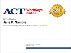 WorkKeys sample certificate of completion