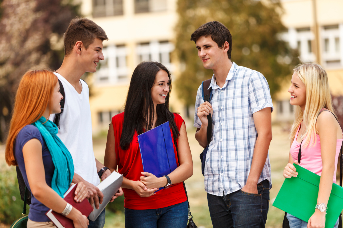 group of students on a college campus