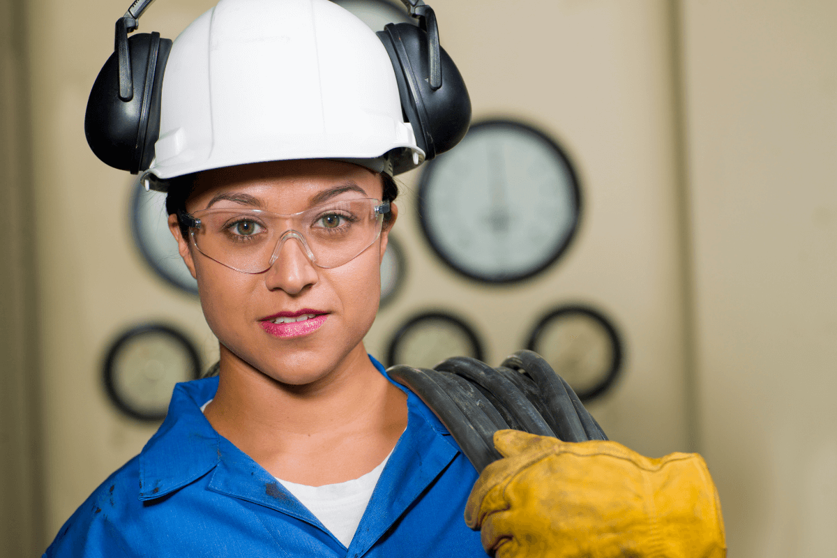 young female worker wearing PPE