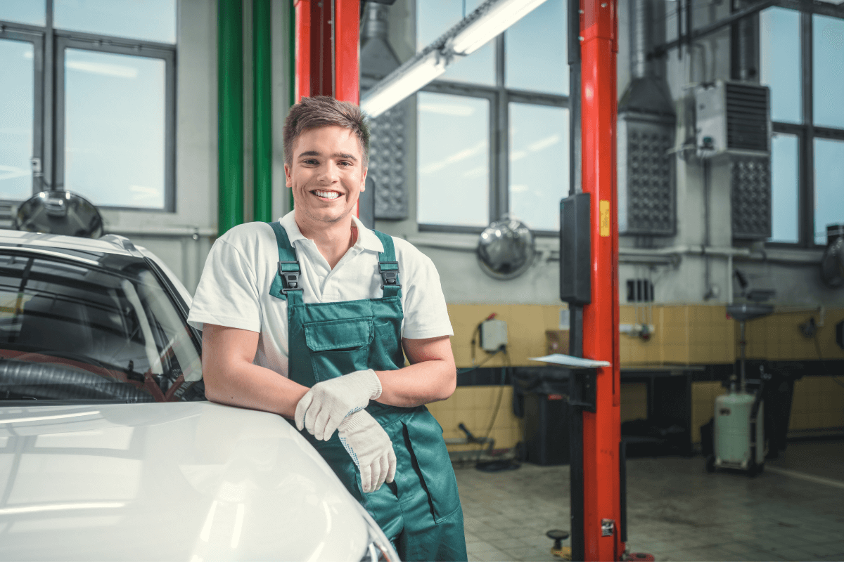young worker at an auto repair shop